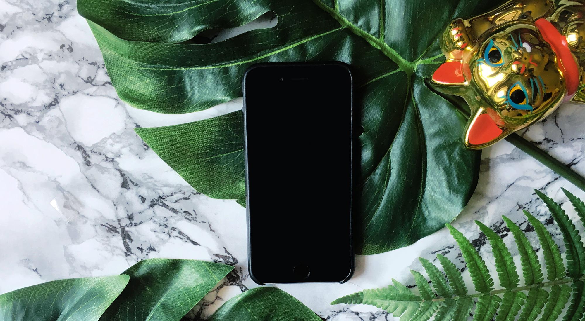 Bild eines iphone und einer Winkekatze auf Marmorhintergrund mit Monstera-Pflanze