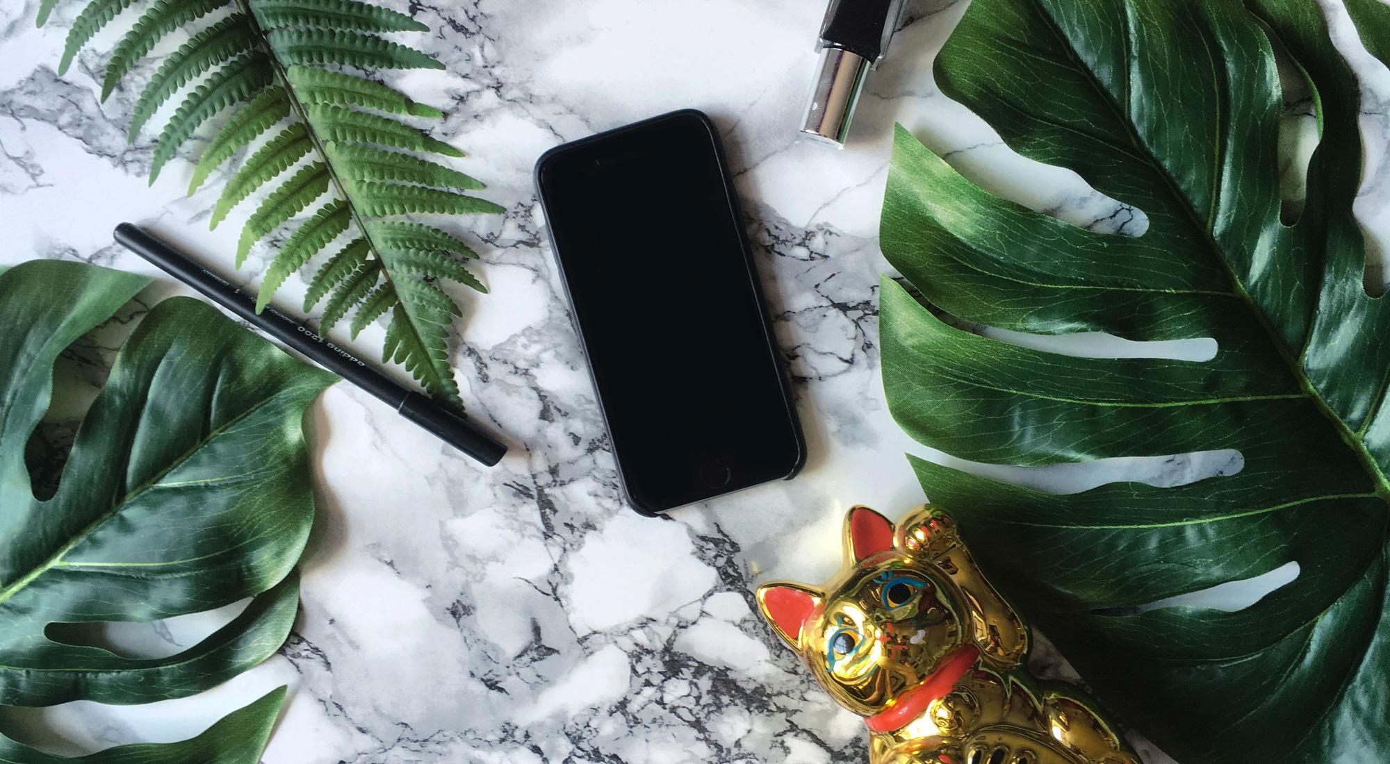 Bild mit Winkekatze, Farn und Monstera-Blatt, iphone, Stabilo Stift und schwarzer Nagellack